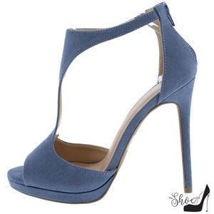 The Shoe Loft Shoes - Lora Sueded Denim T-Strap Peep Toe Heels